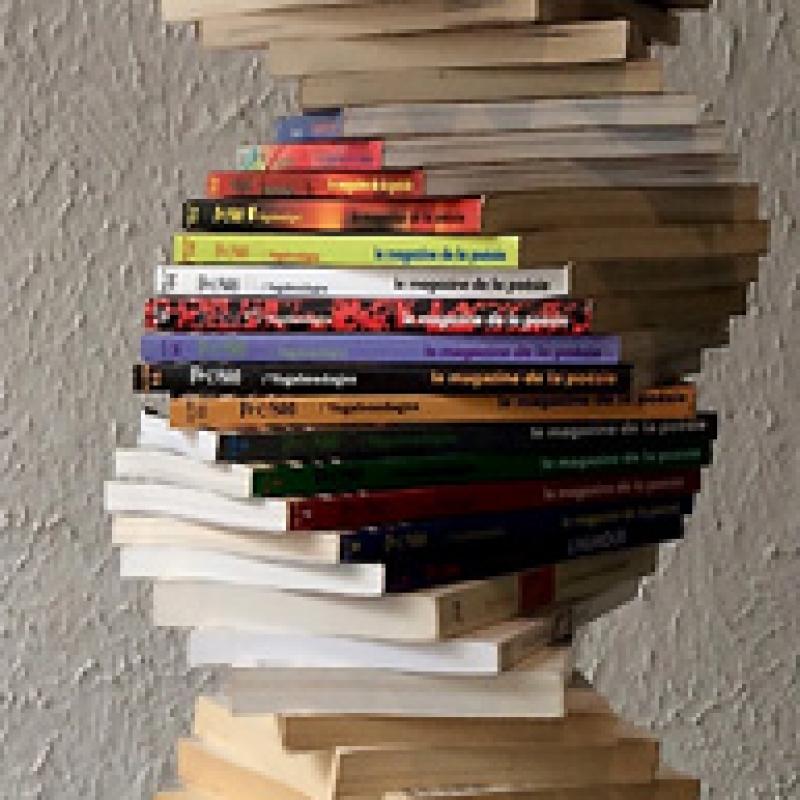 Pile des livres de poésie d'Olivier