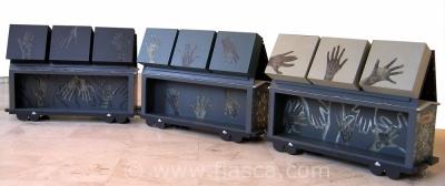 Malle dentelle, wagons ouverts, dos des casiers dentelles installés sur le toit des wagons