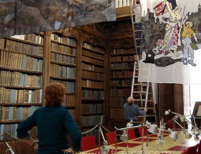 Installation du voile à l'Eglise des Jésuites de la médiathèque d'Alençon
